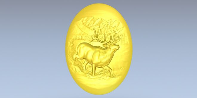 Free CNC Router File Deer Plate Animal STL Decor 1400