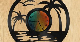 Free Wall Beach Clock DXF Cnc Cut File