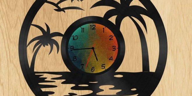 Free Wall Beach Clock DXF Cnc Cut File