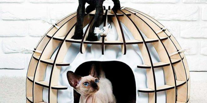 6mm Laser Cut Cat Bed House Indoor Unique Modern Dog Cat Cave Luxury Designer Furniture