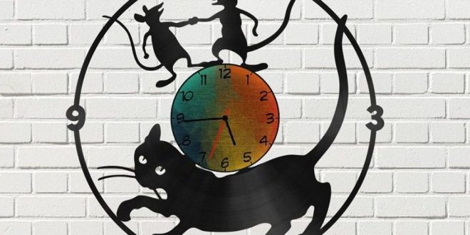Cat with mice Clock Vinyl