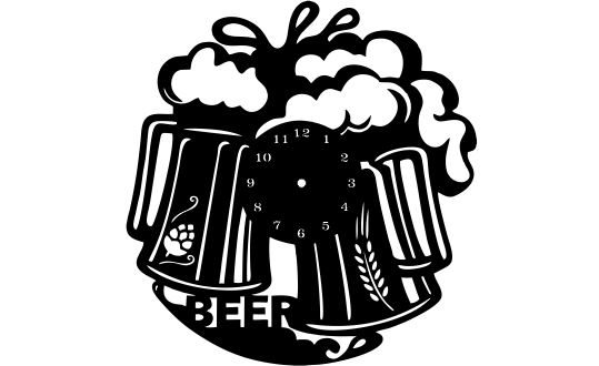 Cnc File Clock vinyl At the beer shop