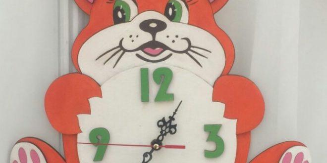 Free Laser Cut File Clock with cat kids