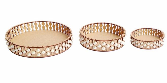Laser Cut File Party 3 Pearl Trays CDR DXF