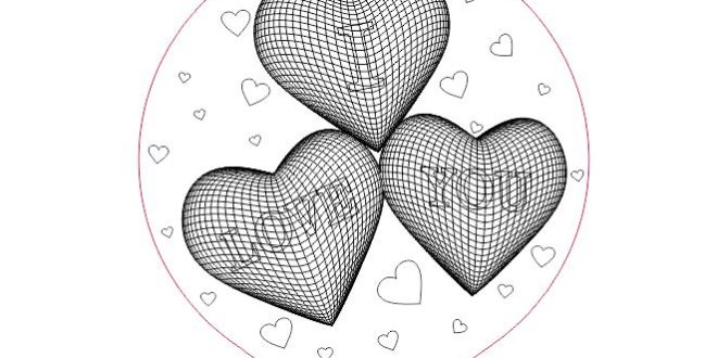 Night Lamp 3D Illusion Model Laser Vector Hearts I Love You