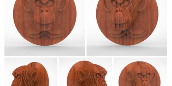 CDR DXF File Laser Cut Monkey Head 3D Puzzle 3mm