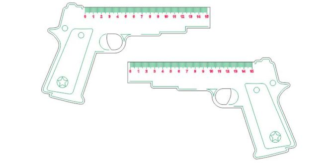 Laser Cut and Engraving Ruler Gun Kids School
