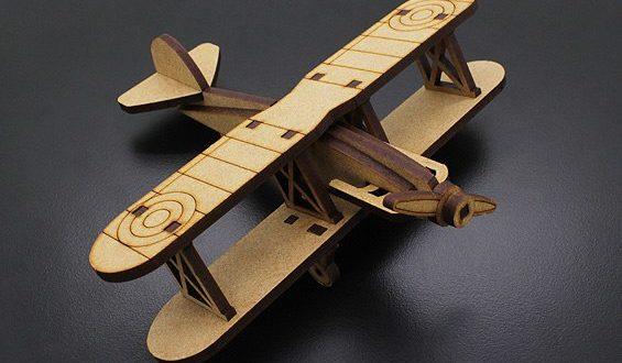 Free Laser Cut Biplan Airplane Toy CDR DXF