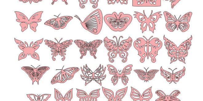 Free 2D Pack Butterfly Ornaments Decor DXF