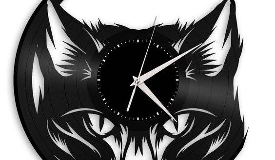 Laser Cut File Cat watch clock