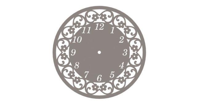 Cnc Cut Floral Wall Clock Vector