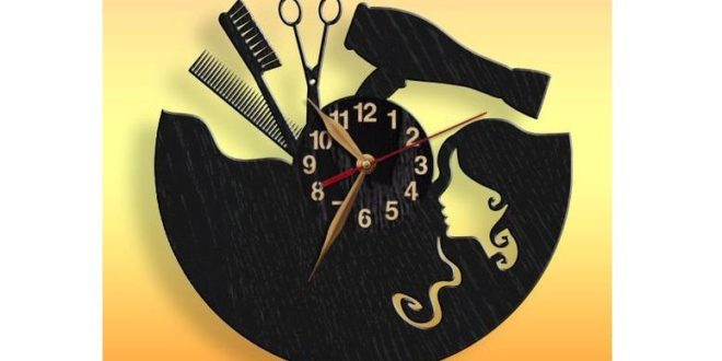 Cut File Clock hairdresser with girl cdr dxf