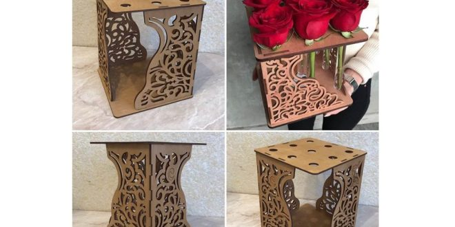 Free laser cut cube flowers decor dxf file download