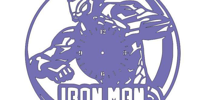 Free Cnc Cut File Iron man Wall Clock Marvel Comics
