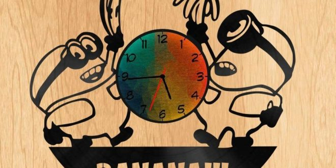 Vinyl Laser Cut Cnc Minion Banana Clock Kids