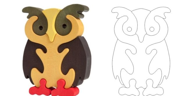 Owl puzzle laser cut toy kids
