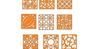 Free Pack Laser Cut Square Panels Grid Wall Decor Elements DXF