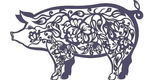 Laser Cut Pig Floral Panel CDR DXF