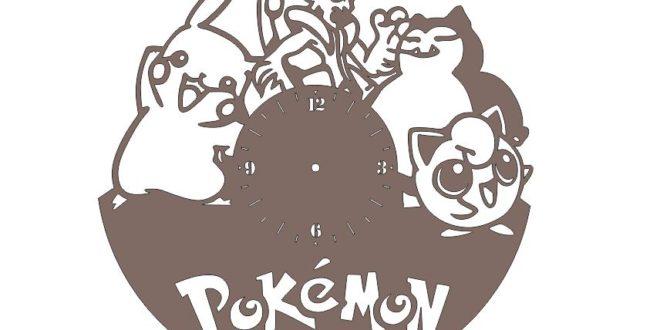 Cnc Machine File Cut Wall Clock Pokemon