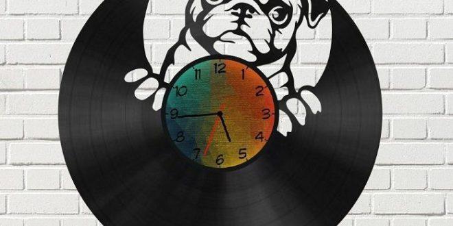 Laser Cut Pug Dog Vinyl Wall Clock