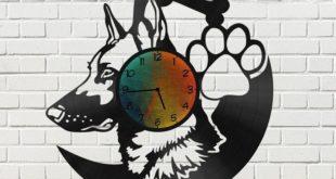 Wall Clock German Shepherd Dog Cnc Plan Design Cut
