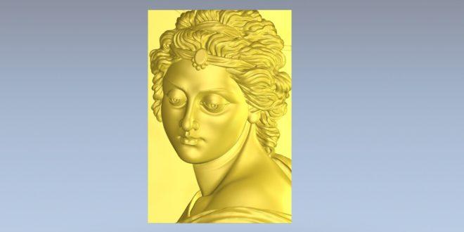 Relief 3D Cnc Model Female Face STL 1403