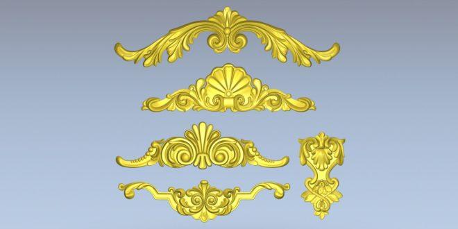 Pack 5 3D Relief Models Floral Carved Cnc File STL 1421