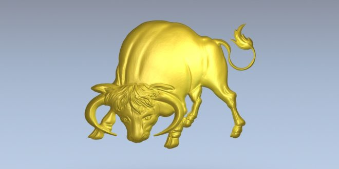 Bull 3d model relief vectric aspire cnc file stl 1429