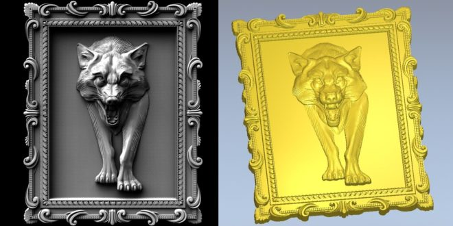 3D Panel Frame Wolf Dog Picture Relief STL 1443