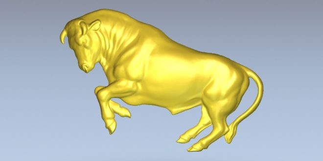 Bull 3d file for cnc router or 3d print stl relief 1444
