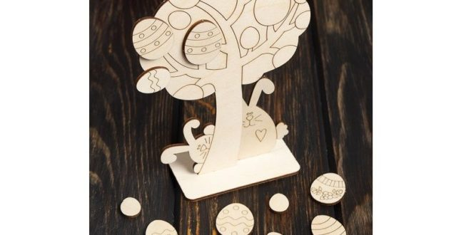 Laser Cut easter tree template cut dxf cdr file