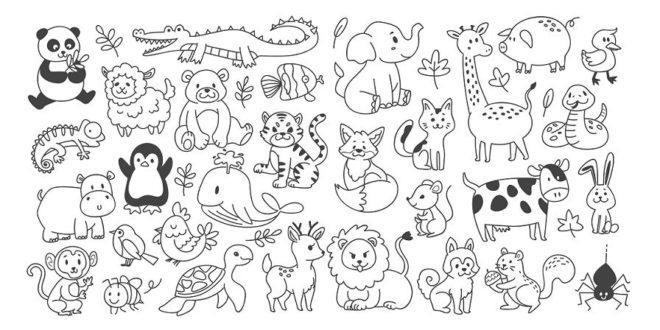 Pack CDR Vectors animals doodle set laser cut engrave