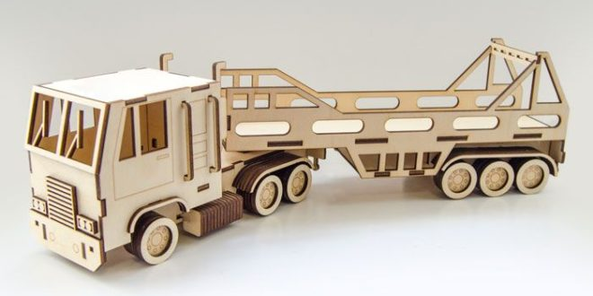 Laser Cut wooden truck lorry camion autotruck cdr dxf