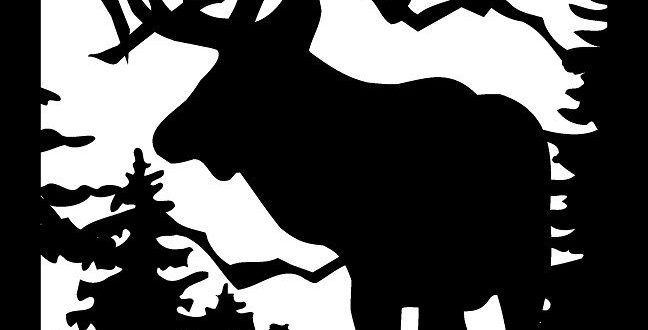 Free Vector DXF Deer Trees Mountains 2