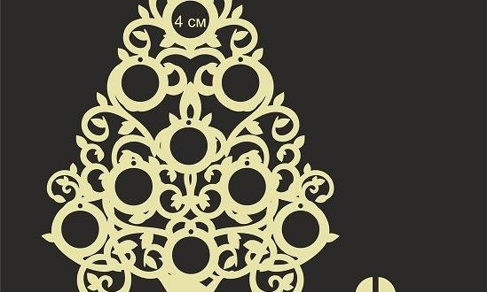 Christmas tree 4 mm laser cut dxf cdr