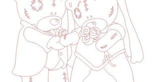 Free Illustration for engraving teddy bear wedding