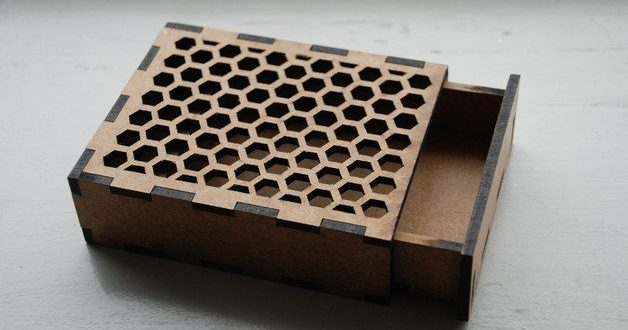 Free laser cut box with a honeycomb pattern