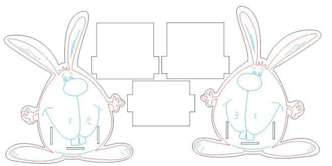 Free laser cut Pencil holder stand Rabbit