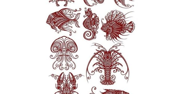 Free pack CDR Vectors Sea Creatures Marine reptiles for laser engraving