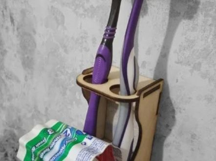 Free cut mdf file holder toothbrush and toothpaste organizer