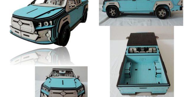 Laser Cut Toyota Hilux Car 3D Vector DXF Puzzle