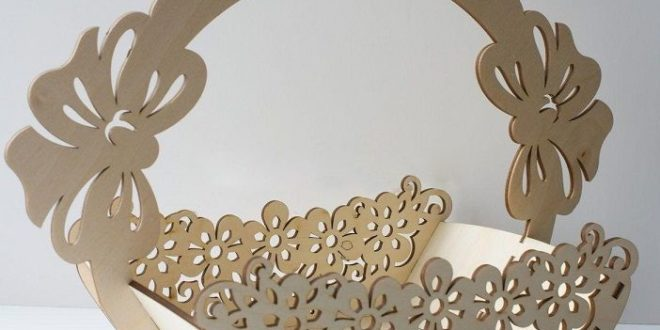 Floral Basket Laser Cut Wood PlyWood Vector