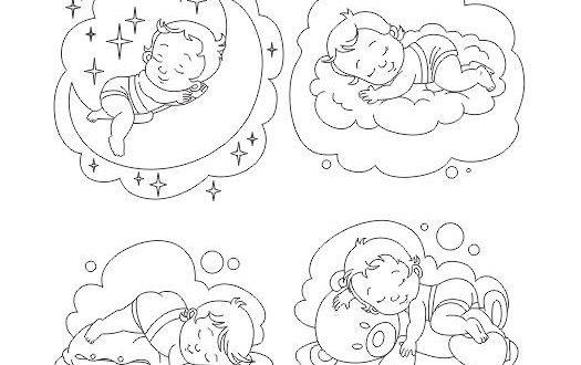 Cnc ArtLine Engraving Line Sleeping baby Vector