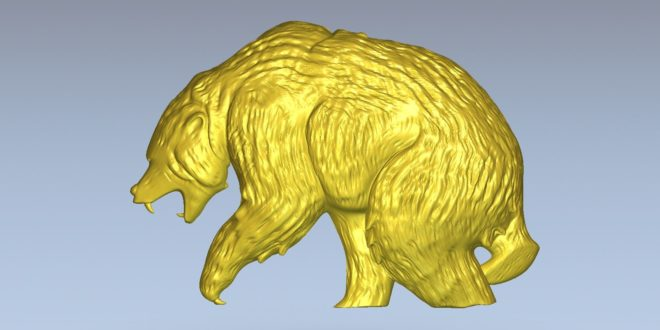 Bear 3D Relief to cnc milling or 3d print model 1511