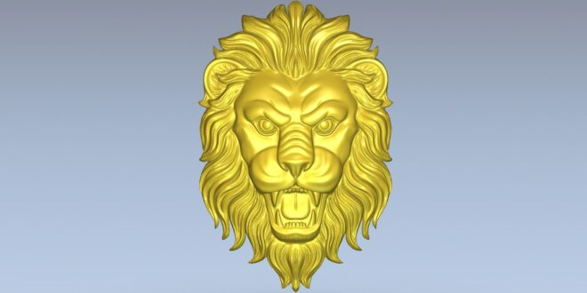 Lion Head 3d Relief model artcam vcarve vectric cut 3d stl 1514