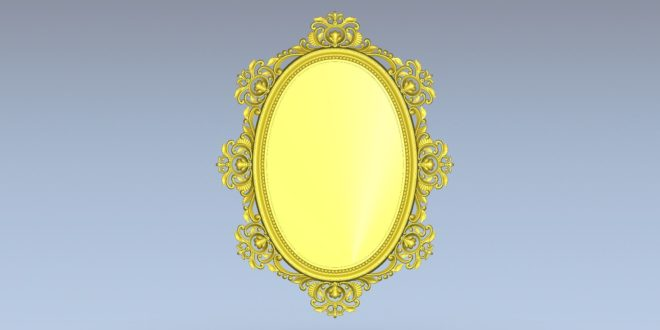 Mirror 3d model decored stl cnc 1528
