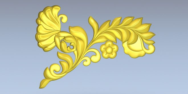 Free Leafs and rose element decor 3d file cnc 1544
