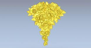 Rose and flower vessel 3d relief cnc model stl 1547