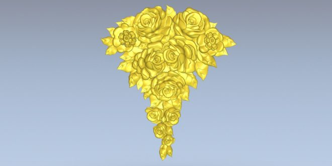 Rose and flower vessel 3d relief cnc model stl 1547