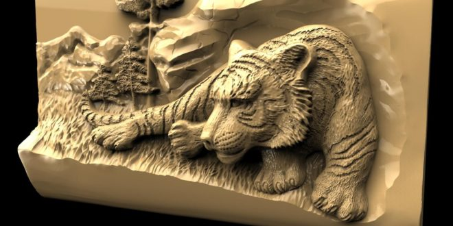 Tiger 3d relief model download cnc router 1567